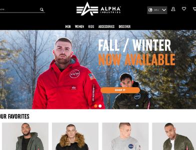 Alpha Industries Webseite