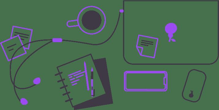 Laptop, Cafe, Handy, Notizblock
