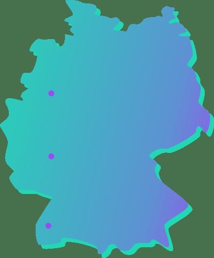 karte von Deutschland mit Punkten in Wiesbaden Mainz und Frankfurt