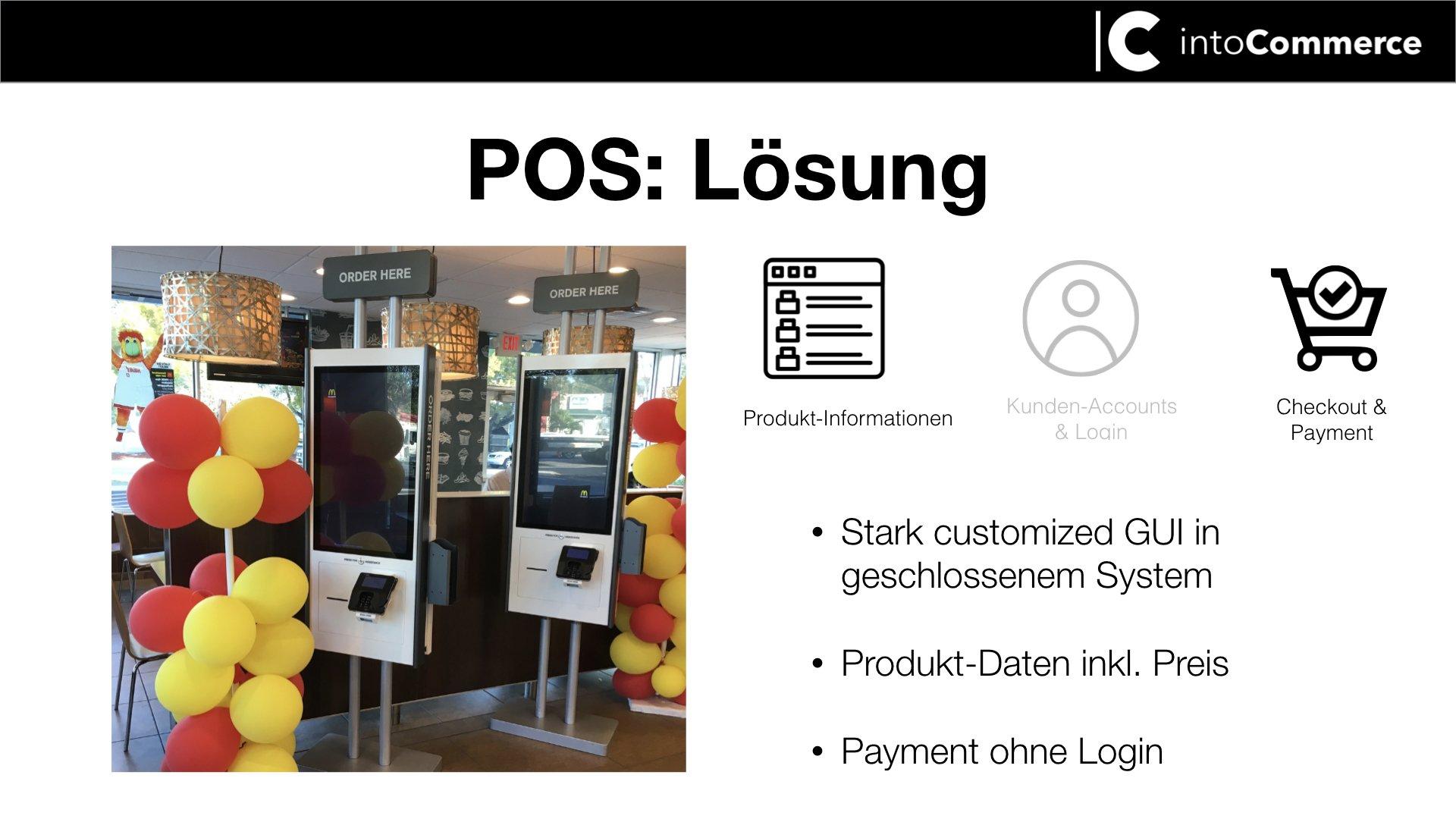 bestellstationen in Fast food Läden mit Schrift POS Lösung