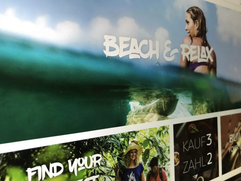 Banner Shopware Camp Frau im Wasser